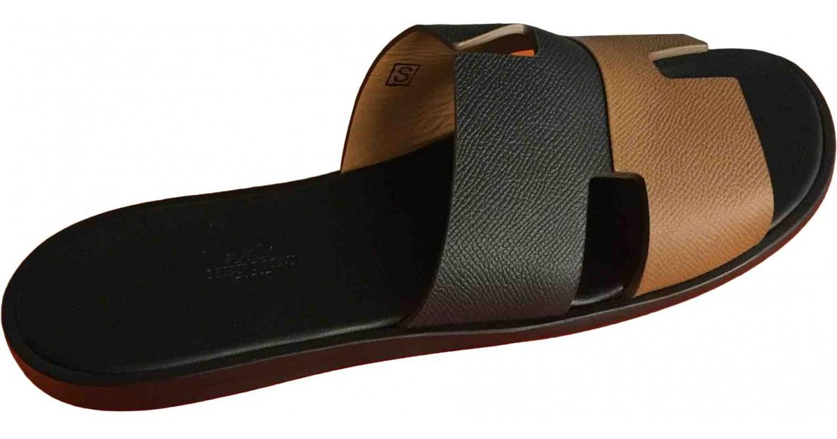 eb1442cee0dcfc Lyst - Hermès Pre-owned Izmir Leather Sandals in Black for Men