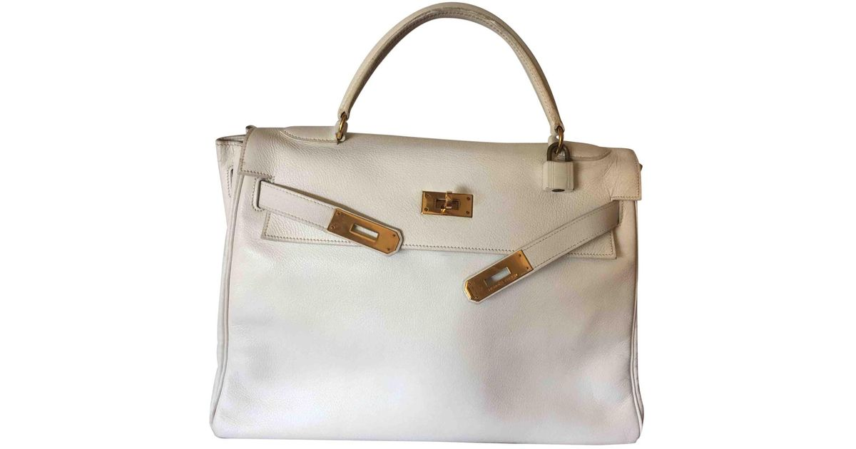 447183d9f40b Hermès Pre-owned Vintage Kelly 32 White Leather Handbags in White - Lyst