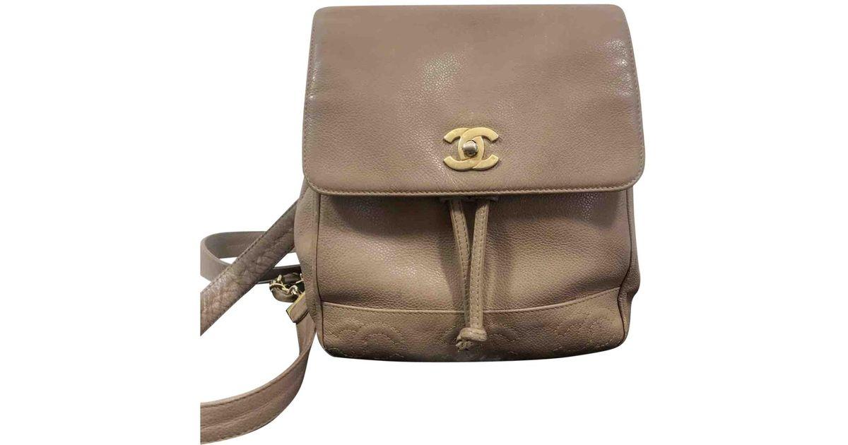 75b1b970de0d Lyst - Chanel Vintage Timeless/classique Camel Leather Backpacks
