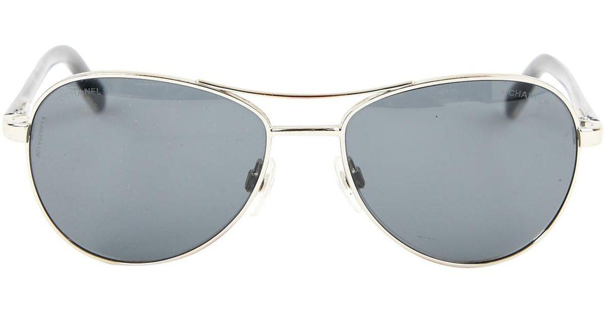 cea9ca9f679 Chanel Aviator Sunglasses in Gray - Lyst