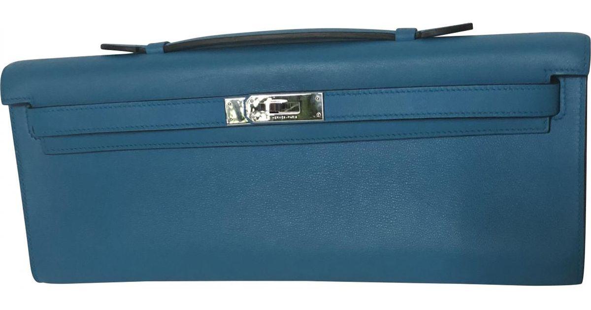 4e4337b75b Lyst - Hermès Pre-owned Kelly Cut Clutch Blue Leather Clutch Bags in Blue