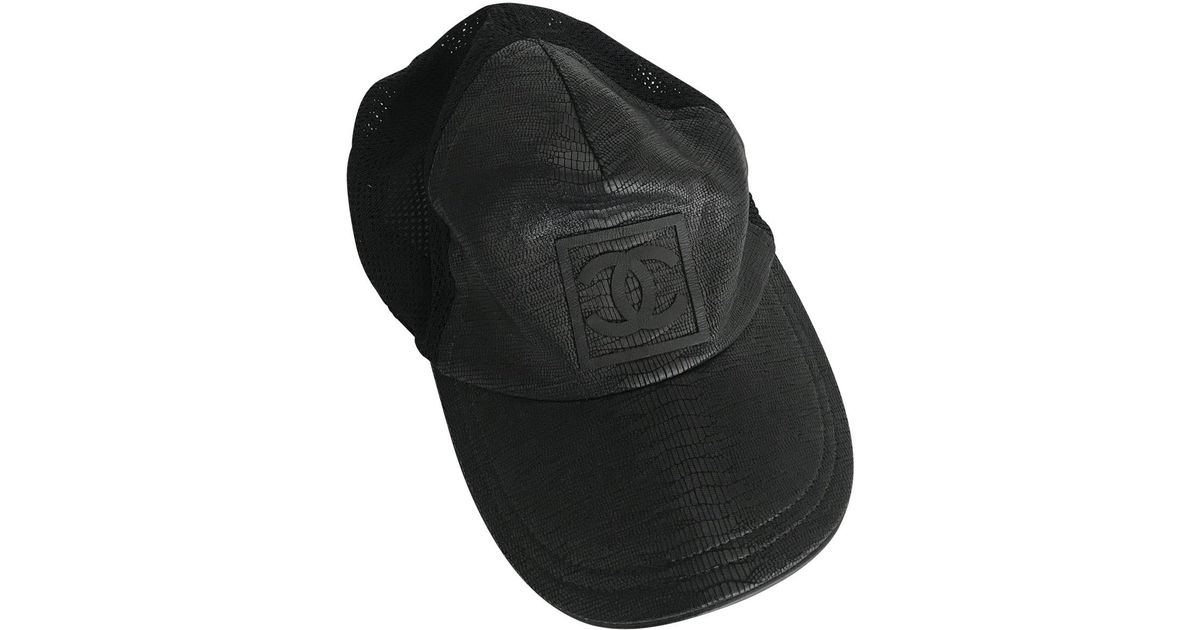 55692740cf0a6 Lyst - Chanel Leather Cap in Black