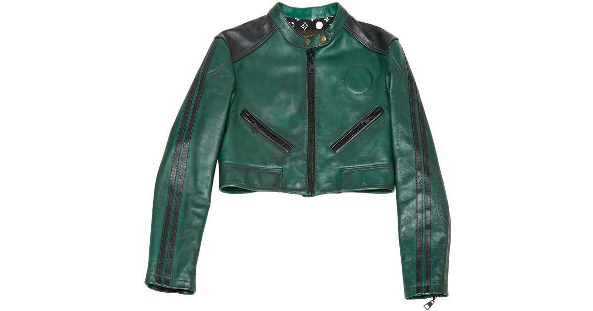 fd93a7f60696 Louis Vuitton Pre Owned Leather Biker Jacket In Green Lyst