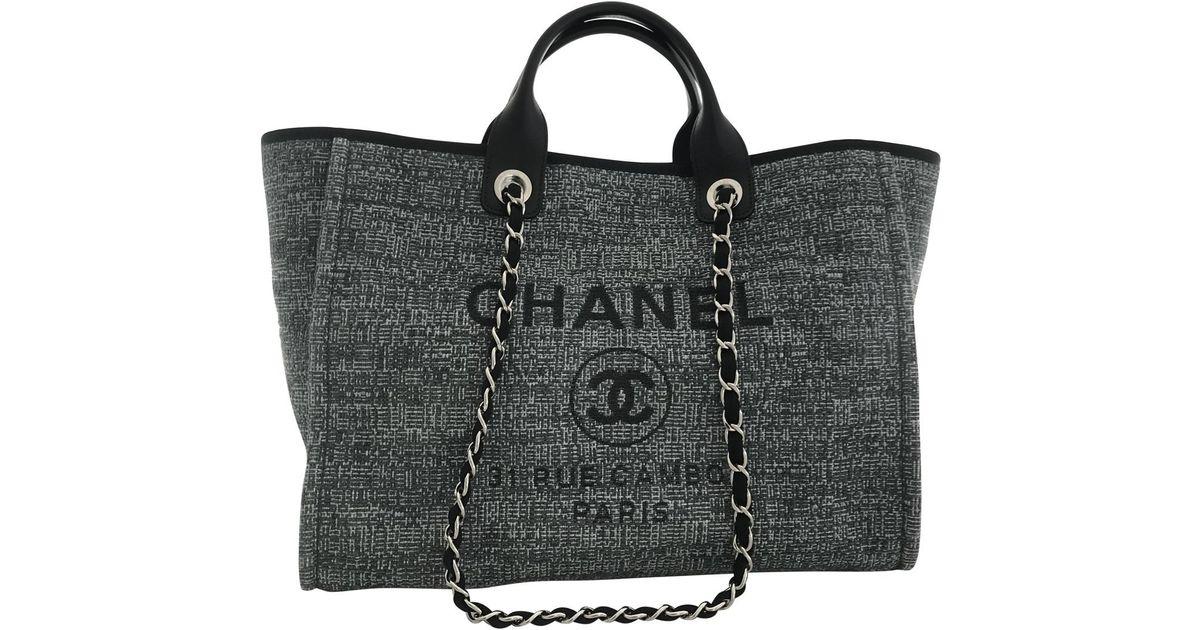 2f872de1c154 Chanel Deauville Tote in Gray - Lyst