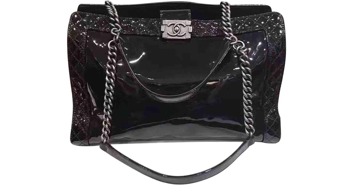 a81944eb794a Chanel Pre-owned Boy Patent Leather Tote in Black - Lyst