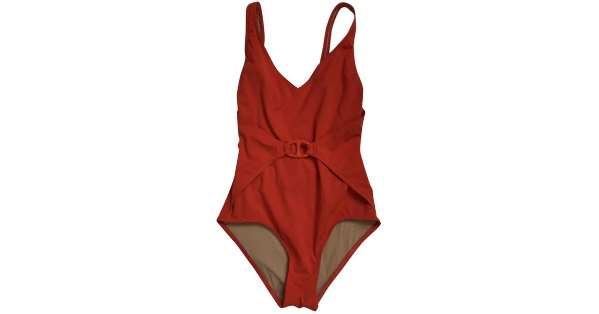 f96deae58ccbe Hermès Pre-owned One-piece Swimsuit in Red - Lyst