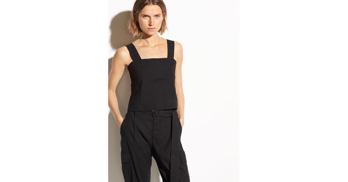 d8bed7d4a0451f Lyst - Vince Cropped Wide Strap Linen Shell in Black