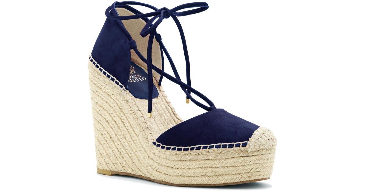 e44a7c24688 Lyst - Vince Camuto Airlia - Platform Espadrille Tie Wedge in Blue