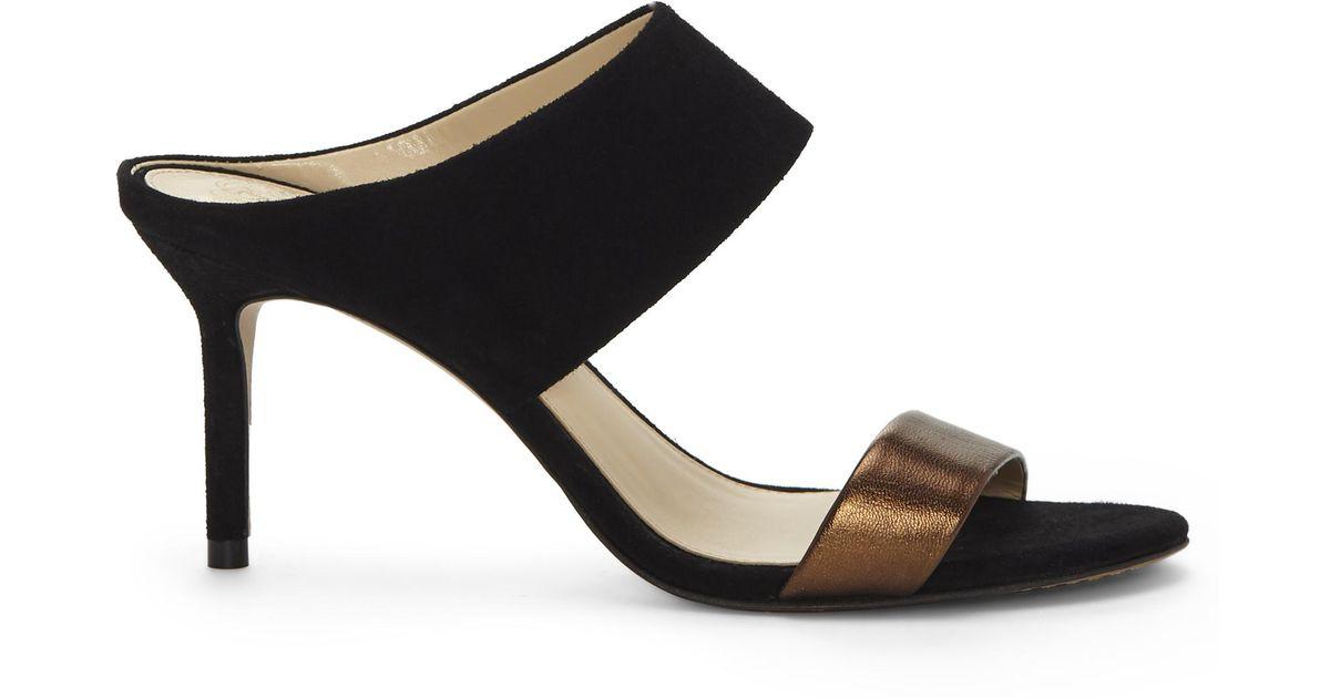 Vince Camuto Women's Navinta Suede & Leather Mid Heel Slide Sandals zQVUpTsuxW