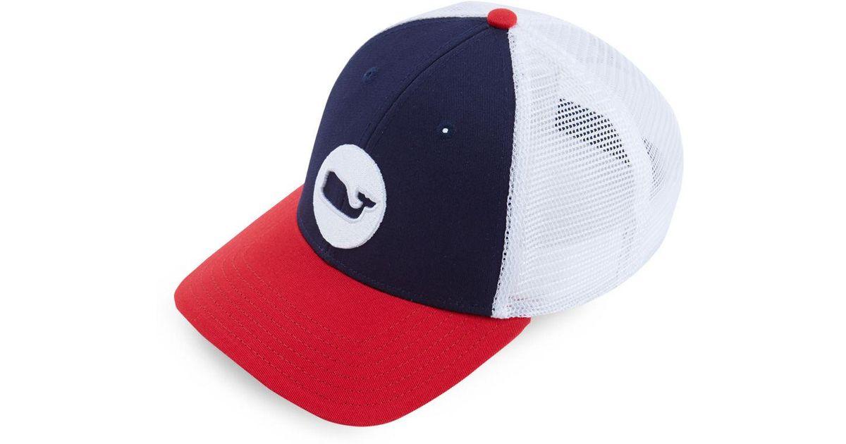 478de7d33c17f Vineyard Vines Low Pro Whale Dot Trucker Hat in Blue for Men - Lyst