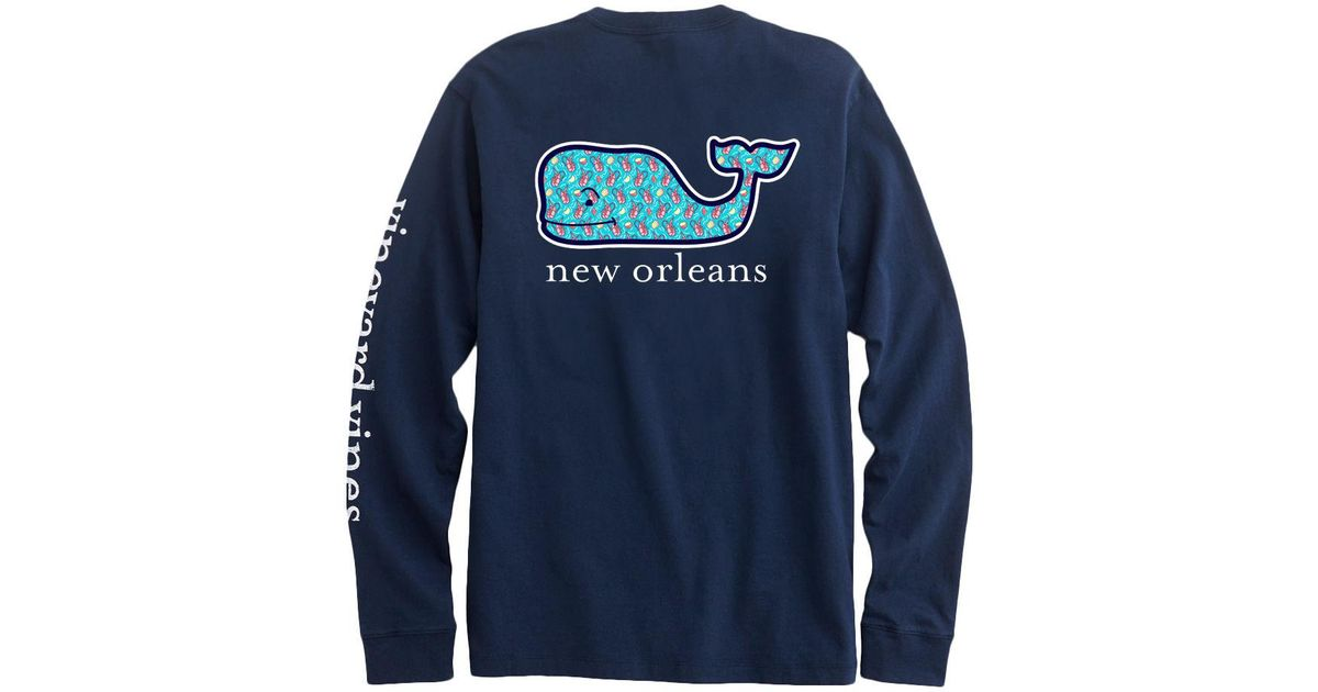1e8722baa Lyst - Vineyard Vines Adult Long-sleeve New Orleans Crawfish Whale Fill T- shirt in Blue for Men