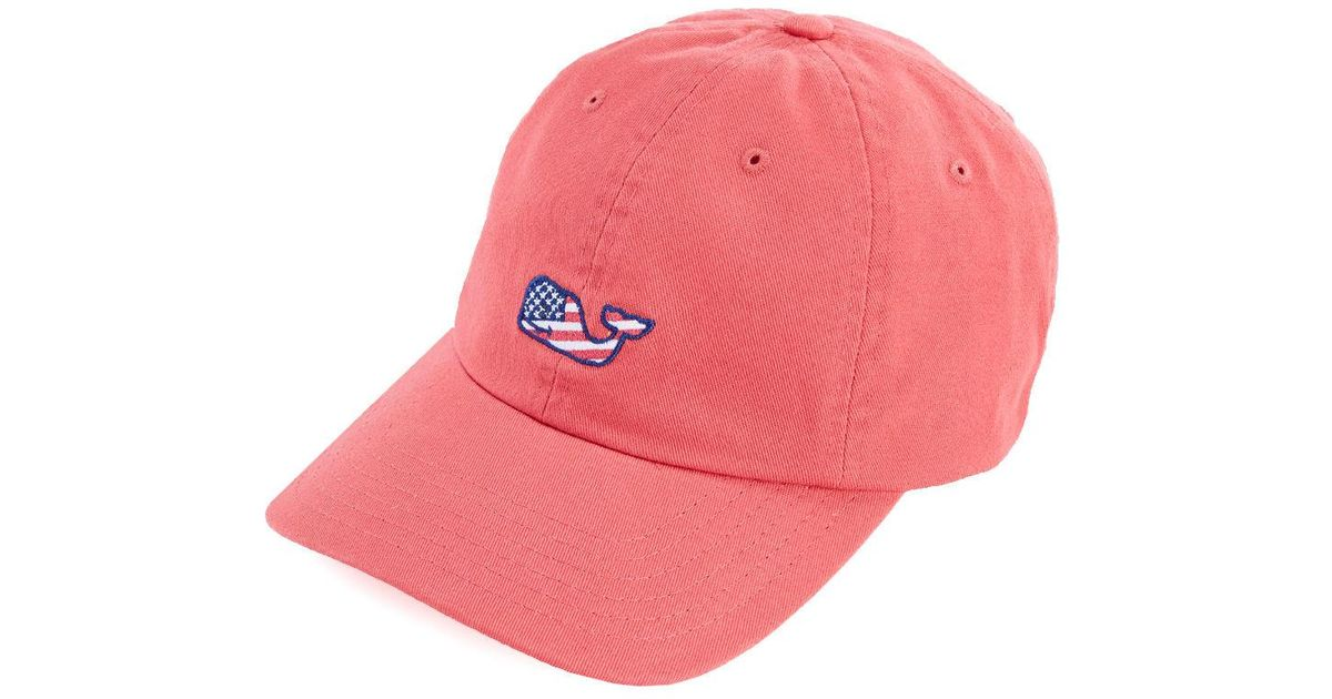 ac6a23d04bb19 Lyst - Vineyard Vines Whale Flag Baseball Hat in Red