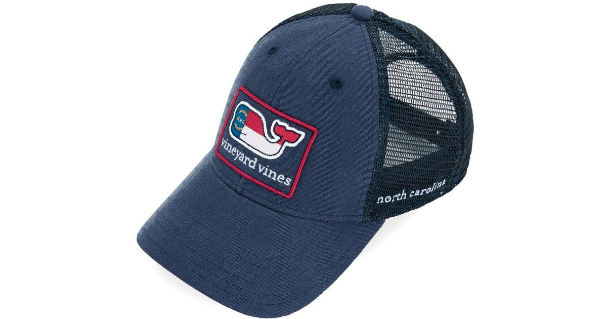 more photos 4b1c7 4fade ... coupon lyst vineyard vines north carolina icon trucker hat in blue for  men aa63a f8d3a