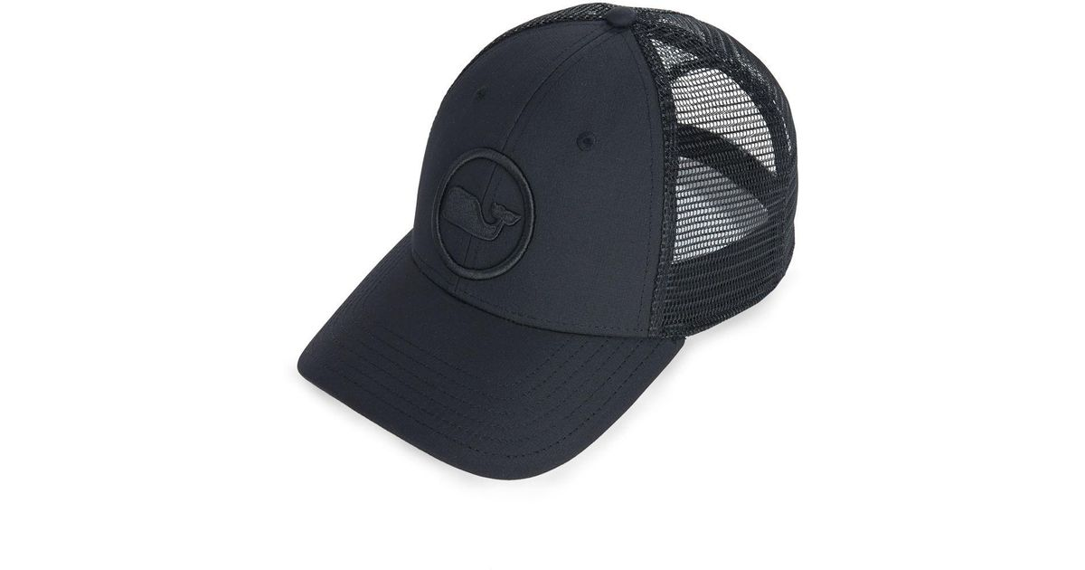 20d5a65da0487 Vineyard Vines Whale Dot Performance Trucker Hat in Black for Men - Lyst