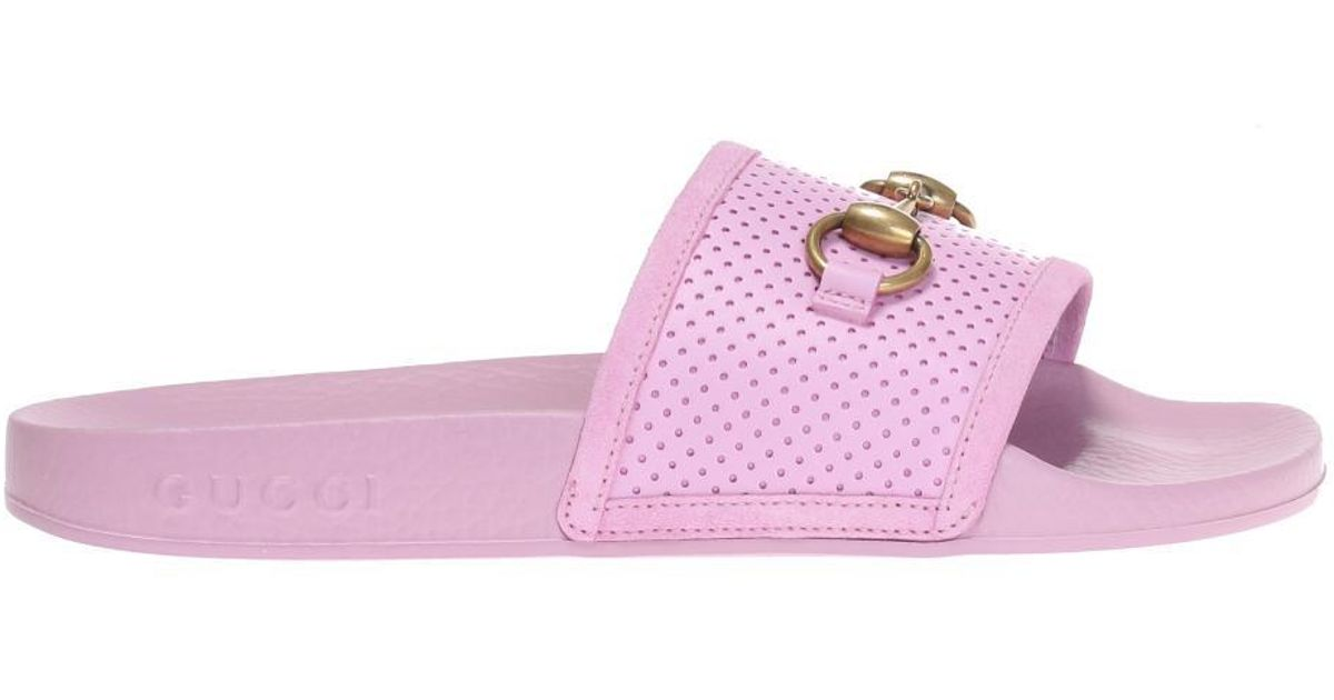 f3ac432c0d4 Gucci Slides With Horsebit in Pink - Lyst
