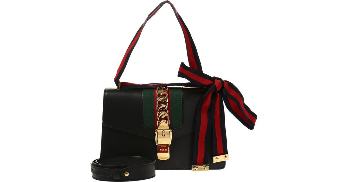 f7108060364 Lyst - Gucci  sylvie  Leather Shoulder Bag in Black - Save 12%