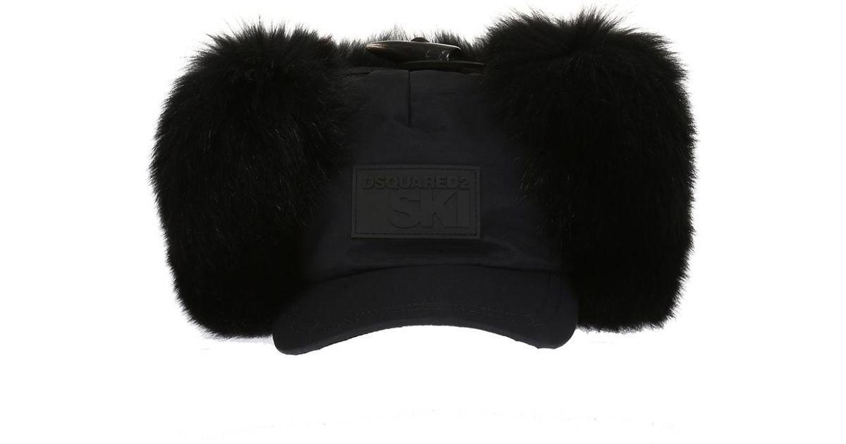 5a653a40076 Lyst - DSquared² Fox Fur-trimmed Baseball Cap in Black for Men