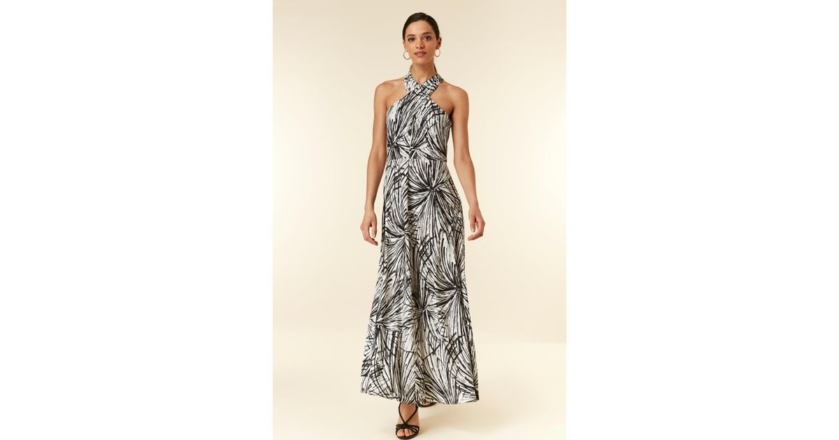 b4ed28bc Wallis Monochrome Palm Printed Maxi Dress in Black - Lyst