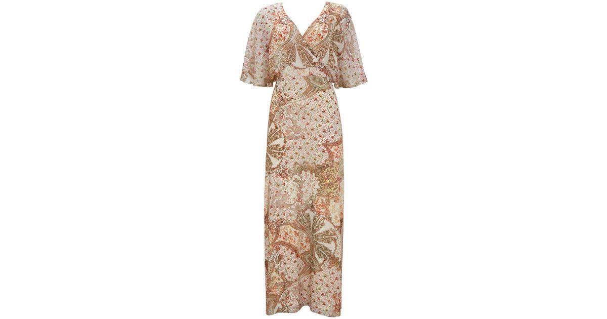 5b0887b0 Wallis Cream Paisley Print Maxi Dress in Natural - Lyst