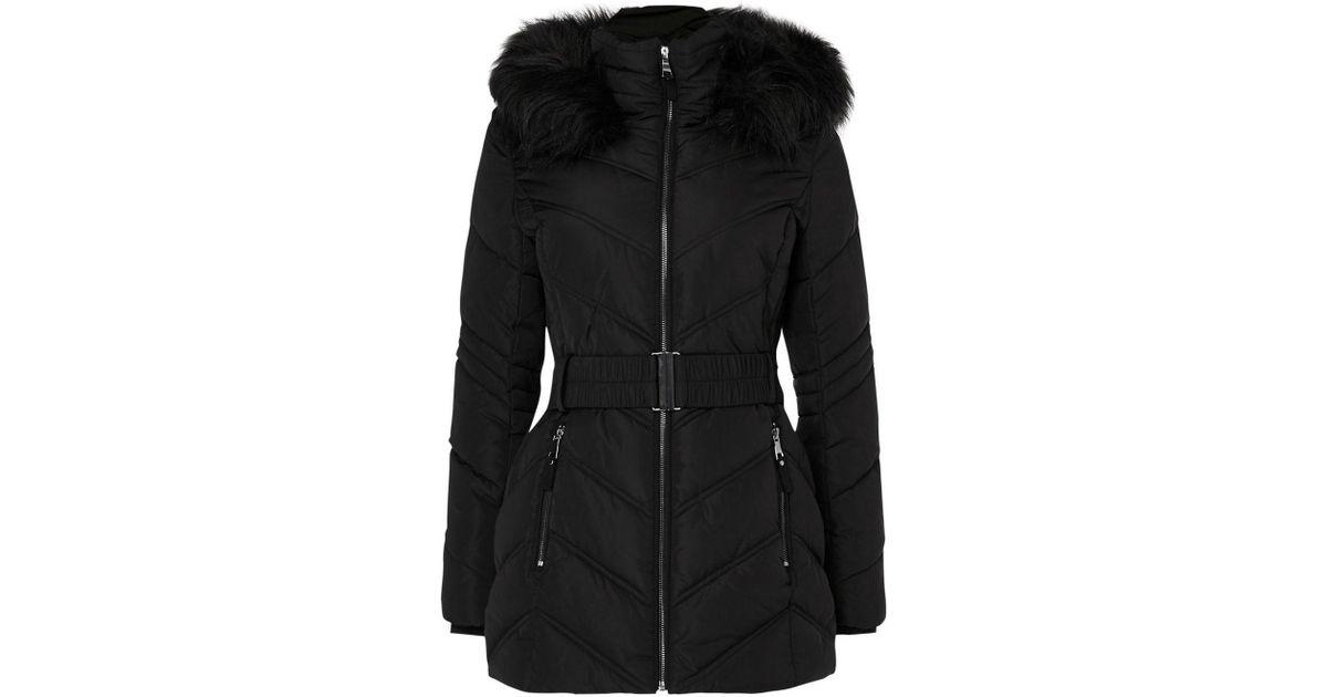 275e3e3bb72ee Wallis Petite Black Short Padded Belted Coat in Black - Lyst
