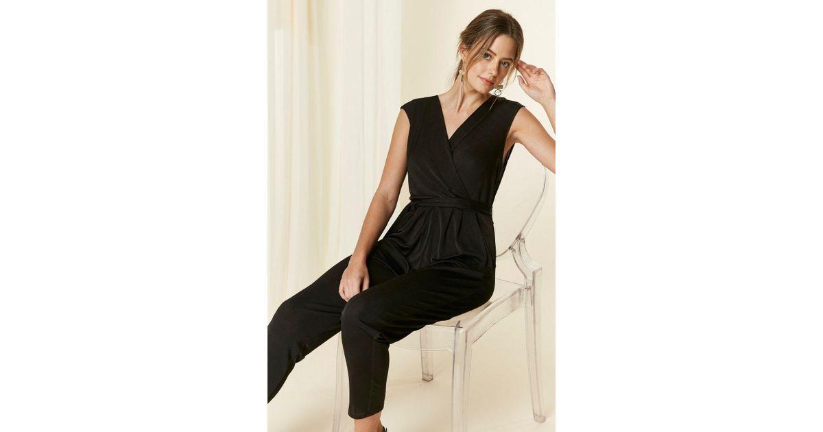 fc0790f3c053 Wallis Petite Black V-neck Jumpsuit in Black - Lyst