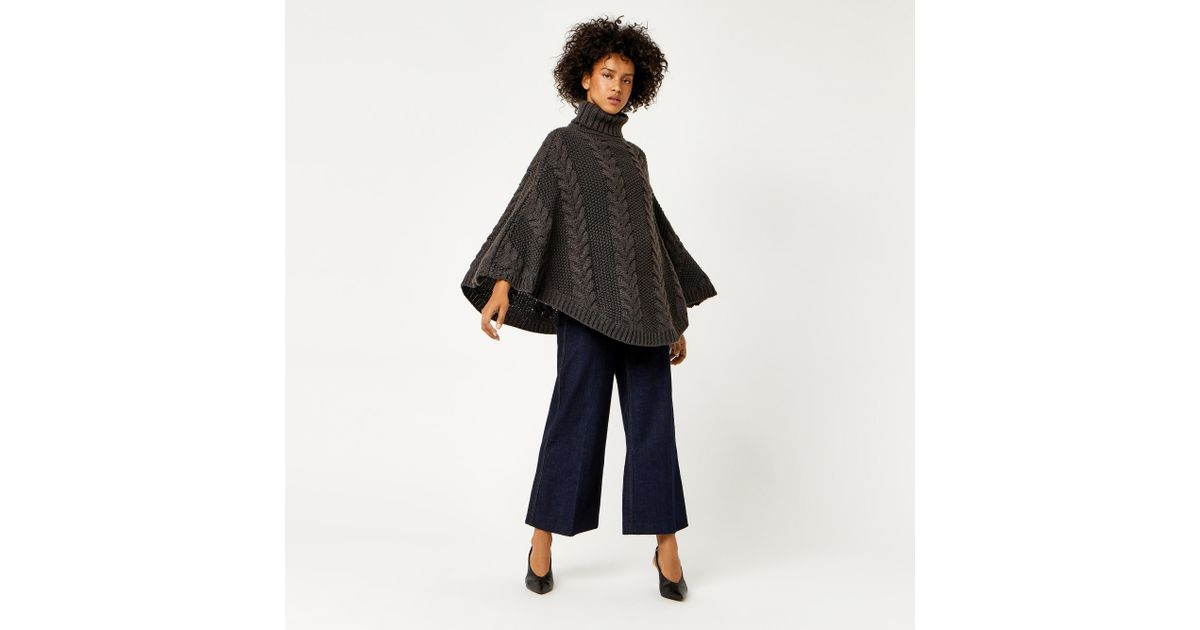 Warehouse Cable Knit Poncho in Grey | Lyst