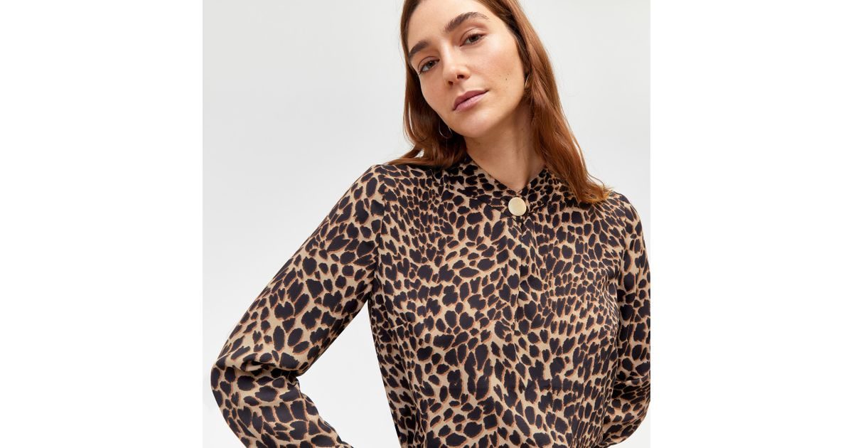 8a6628dbb276 Warehouse Leopard Print Blouse in Brown - Lyst