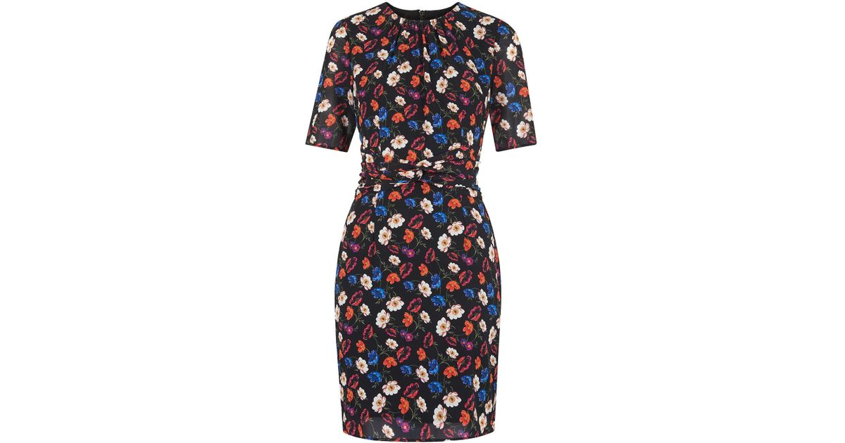 Lyst - Whistles Summer Pansy Print Bodycon in Black - Save 87% e921a6d38