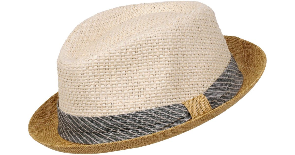 Lyst - Wilsons Leather Straw Stripe Band And Round Brim Fedora in Natural  for Men 876cf02fb16