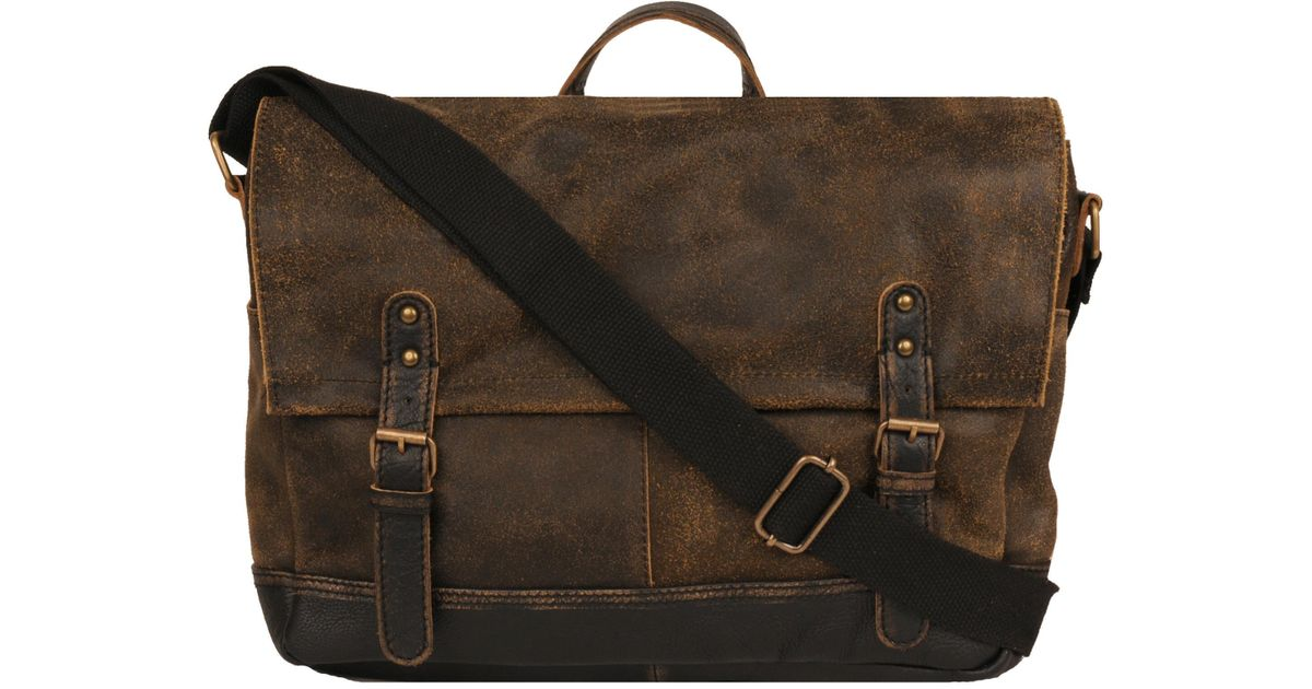 bb25f797d6 Lyst - Wilsons Leather Landon Crackle Leather Messenger Bag in Brown for Men