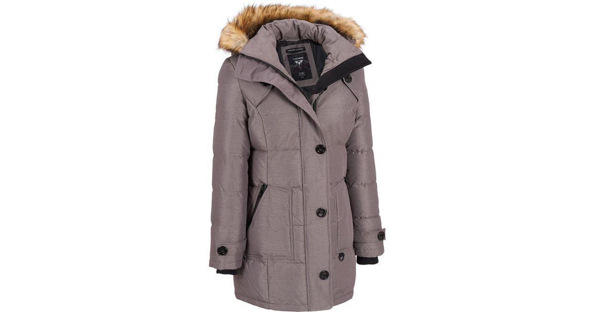9b98fcf94fd Lyst - Wilsons Leather Noize Quilted Mid Length Jacket W  Removable  Faux-fur Hood in Gray