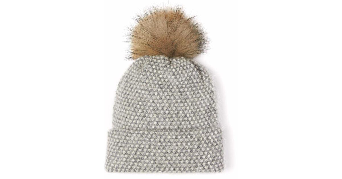 86f453b3a8bdc Lyst - Alma Knitwear Doris Alpaca Silk Pom Hat Grey in Gray