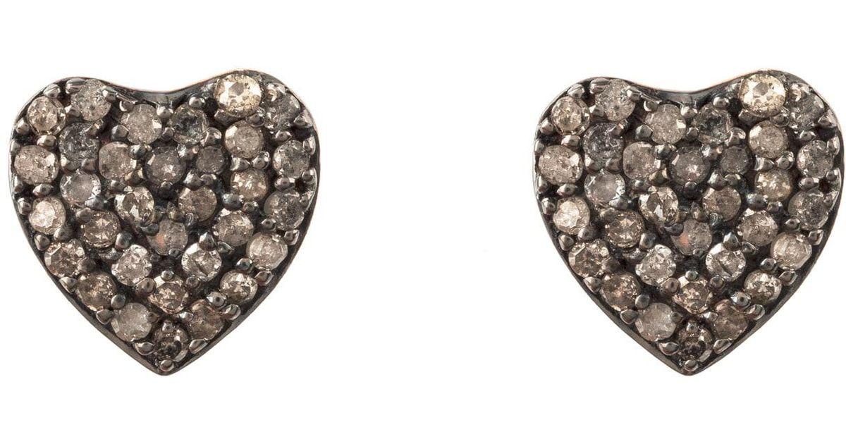 Latelita London Diamond Heart Stud Earrings Rose gold YbD2h46KhU
