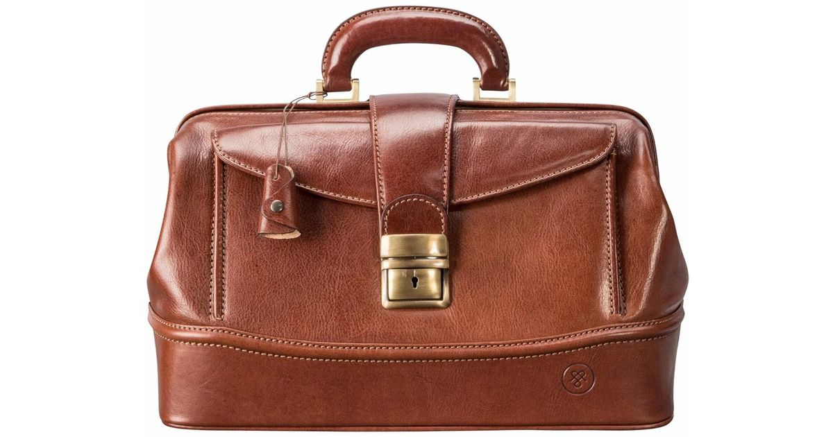 Lyst Maxwell Scott Bags The Donninis Small Luxury Tan Leather Medical Bag Chestnut In Brown For Men