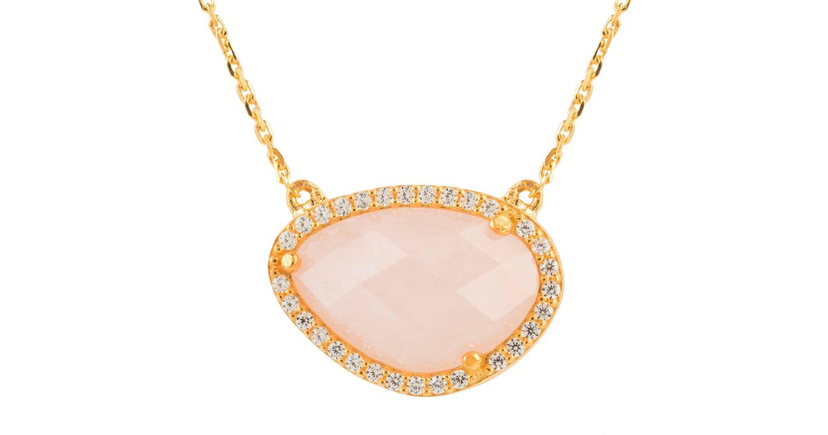 Latelita London Sofia Rose Quartz Gemstone Necklace Silver hjyLfxFvP