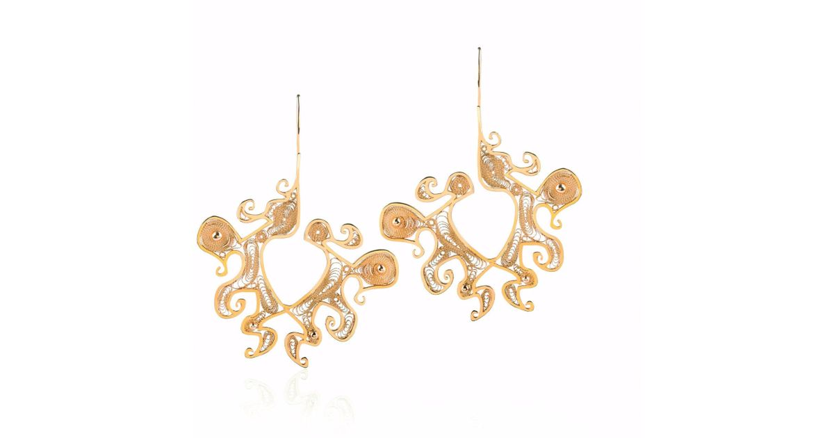 lyst nooneh london maya statement earrings gold in metallic