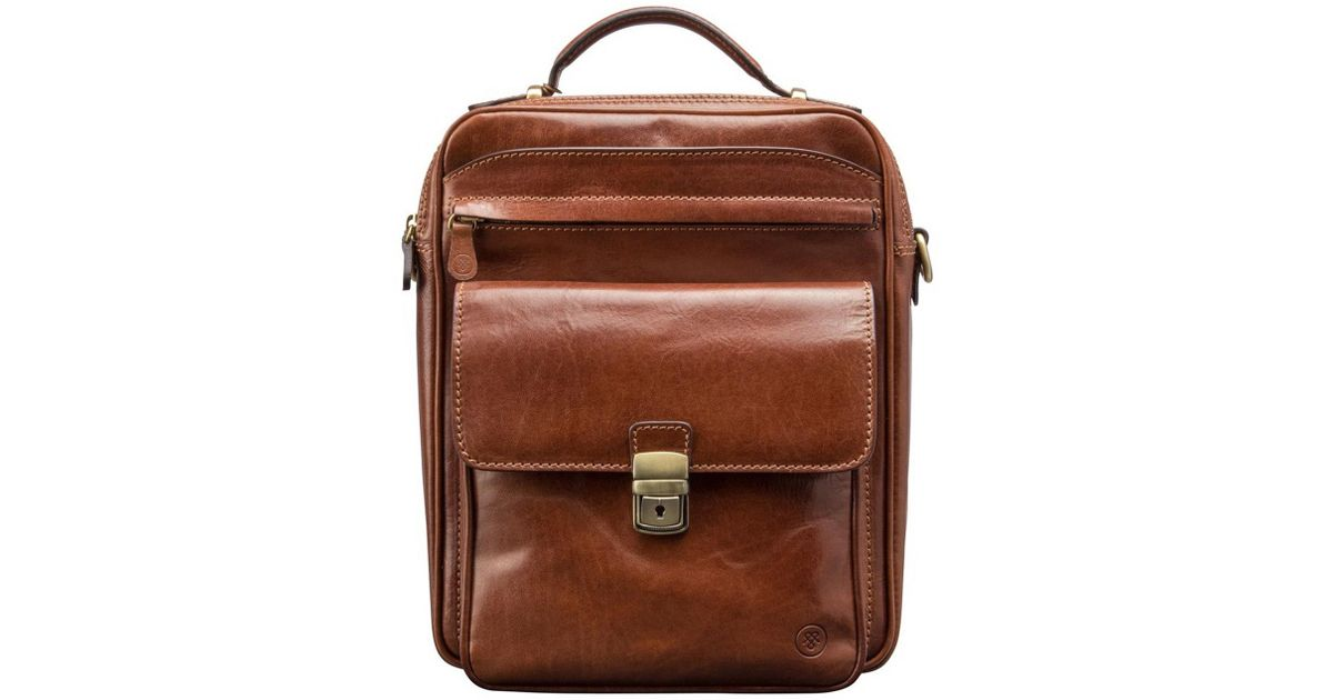 4f6c9b2c08 Lyst - Maxwell Scott Bags Luxury Italian Leather Men s Large Shoulder Bag  Santino L Chestnut Tan in Brown for Men