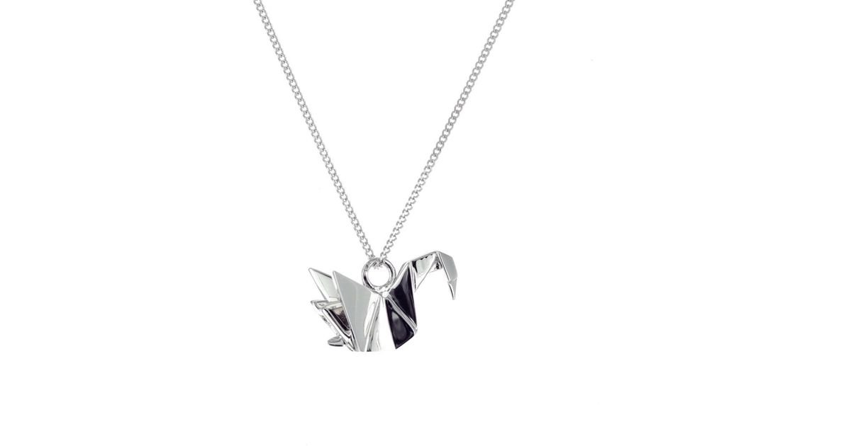 Origami Jewellery Sterling Silver & Pink Gold Mini Swan Origami Necklace Xa3csqZtyG
