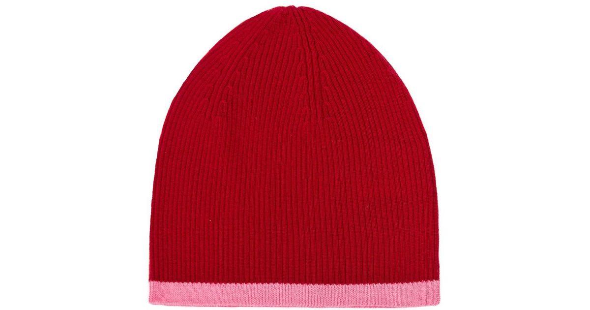 Lyst - Ille De Cocos Merino Beanie Hat Cherry   Flamingo in Red f96e0768368e