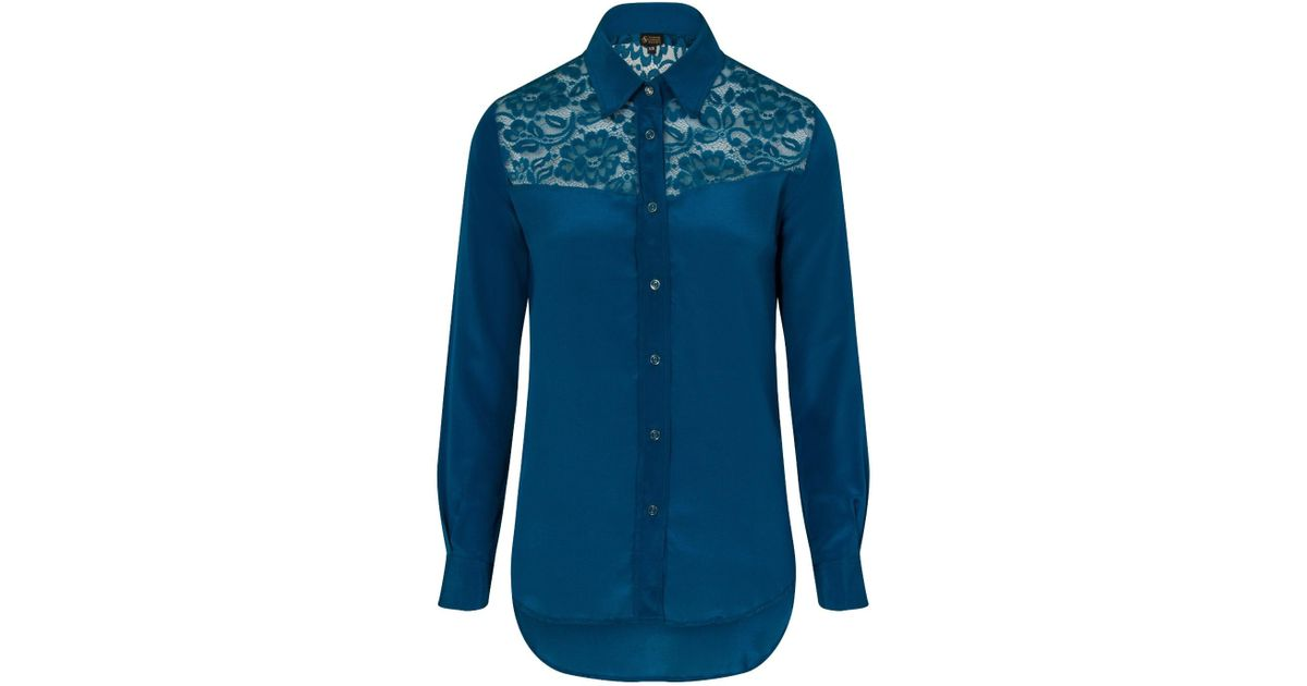 041737621862a4 Lyst - Sophie Cameron Davies Teal Classic Silk Shirt in Green