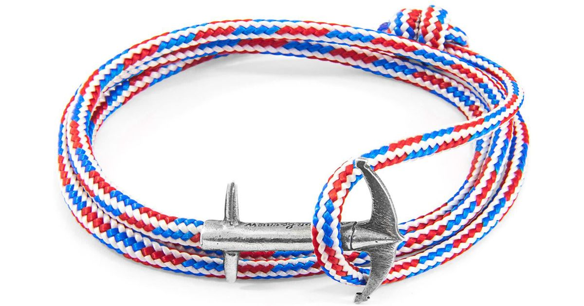 Anchor & Crew - Project Rwb Red White & Blue Admiral Anchor Silver & Rope  Bracelet for Men - Lyst
