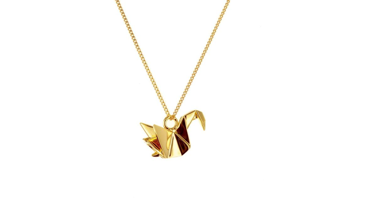 origami jewellery mini swan necklace gold in metallic