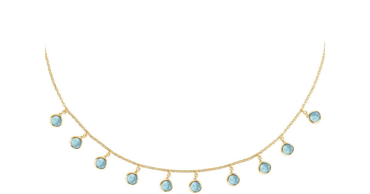 Latelita London Florence Round Gemstone Necklace Gold Blue Topaz O7O9kDK