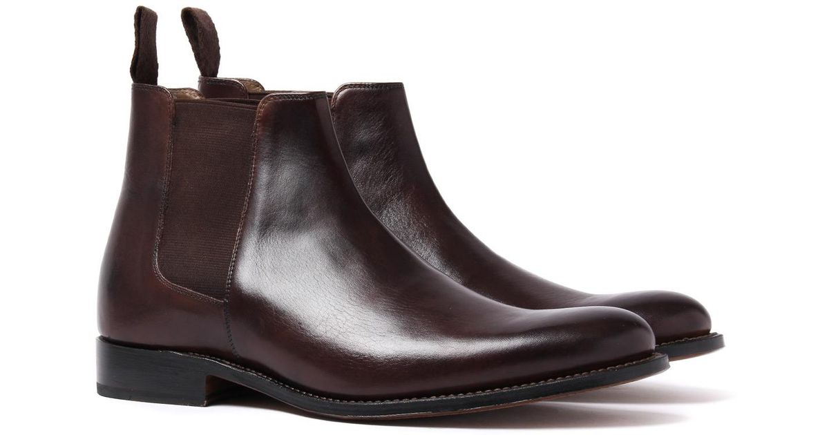 7a23f1dad10 GRENSON - Declan Dark Brown Leather Chelsea Boots for Men - Lyst