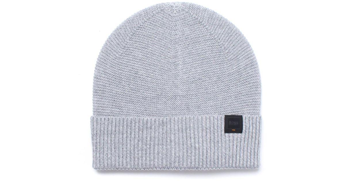 Ribbed beanie hat in virgin wool BOSS tMMEJ2lS
