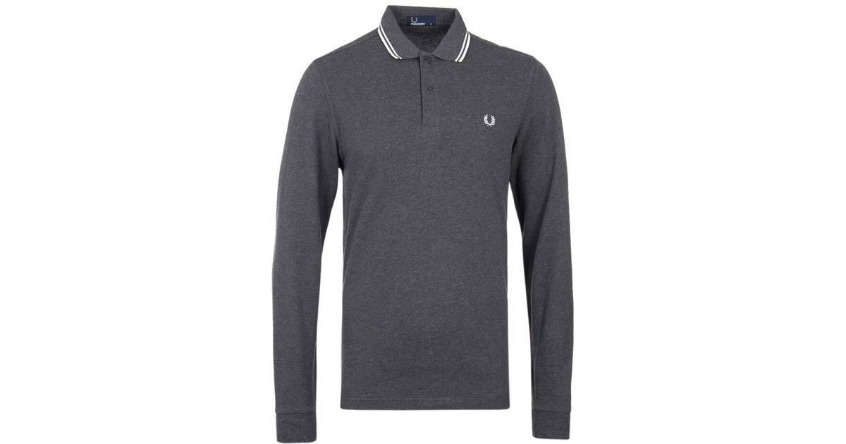 92d4498b8 Fred Perry Graphite Marl Long Sleeve Twin Tipped Polo Shirt in Gray for Men  - Lyst
