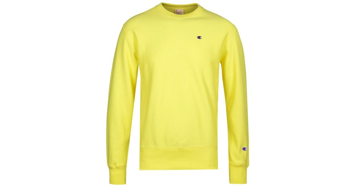 f1a74c8ed81a Lyst - Champion Reverse Weave Yellow Sweatshirt in Yellow for Men