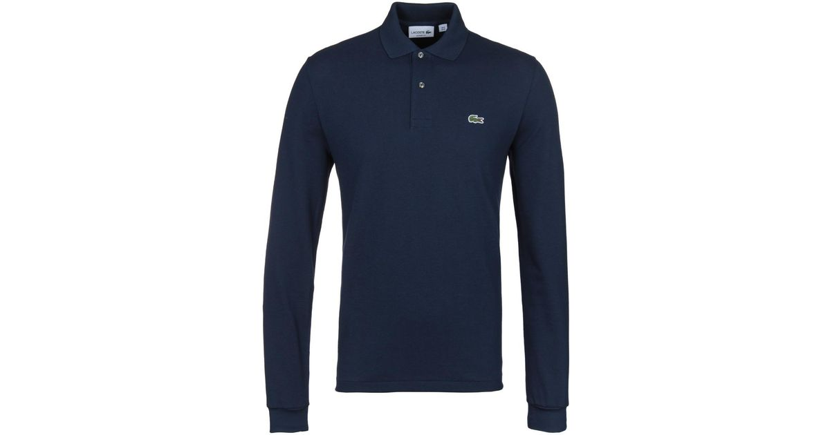 fab570ddb64f Lacoste L1312 Navy Classic Fit Long Sleeved Pique Polo Shirt in Blue for  Men - Lyst
