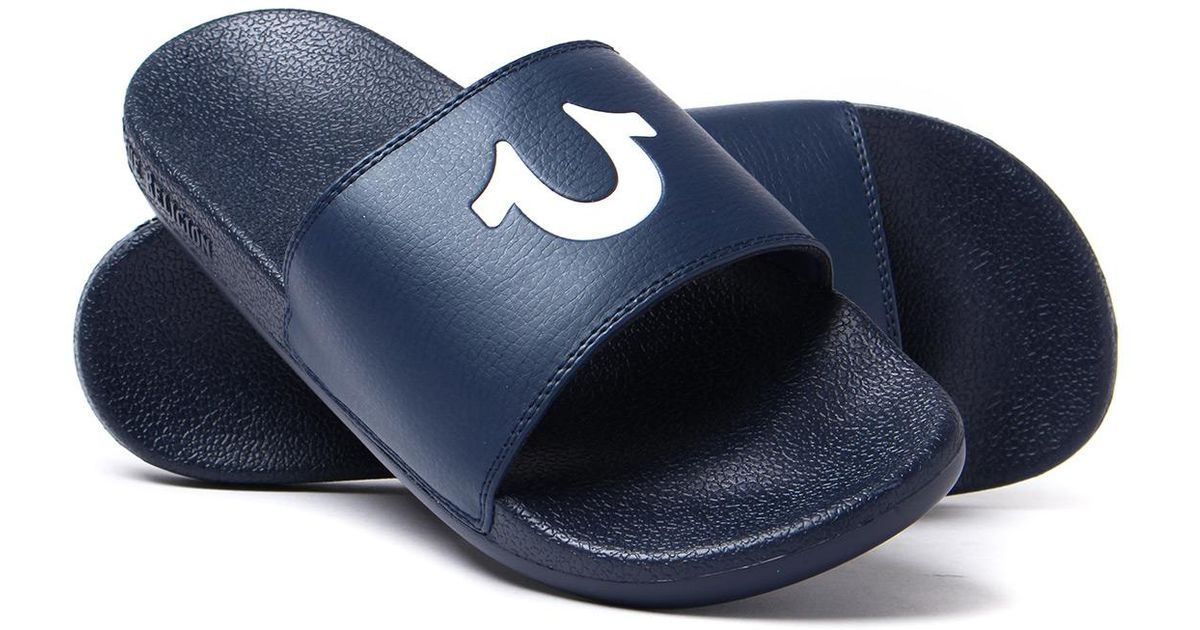 2fac764bc642 True Religion Navy Horseshoe Slide Sandals in Blue for Men - Lyst