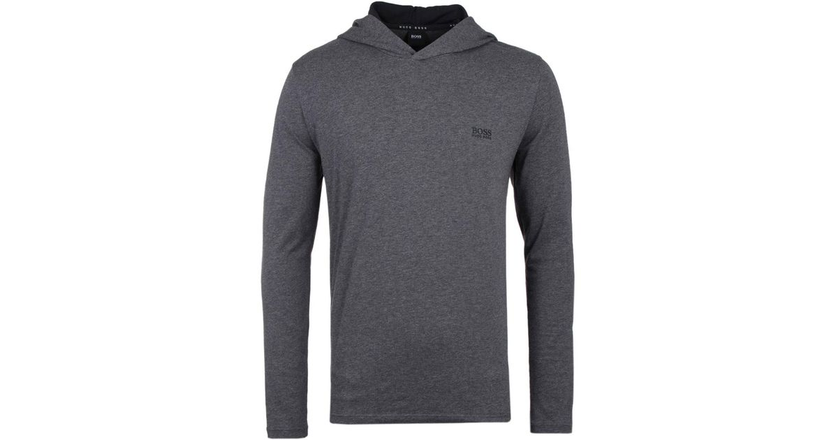 ae8fd20d56 BOSS by Hugo Boss Charcoal Hooded Long Sleeve T-shirt in Gray for Men - Lyst